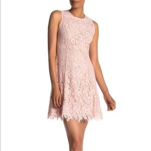 vince camuto pink lace sheath dress